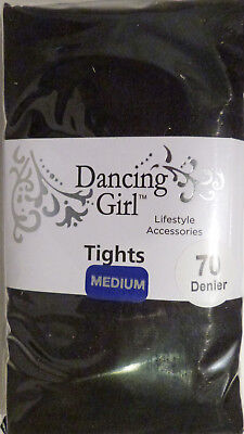 Dancing Girl Medium Size Opaque 70 Denier Tights with Lycra in Black - Girls Black Opaque Tights