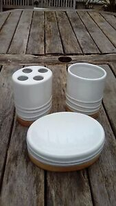 White Ceramic Bathroom Accessory Set of 3,Soap Dish Toothbrush Holder And Cup