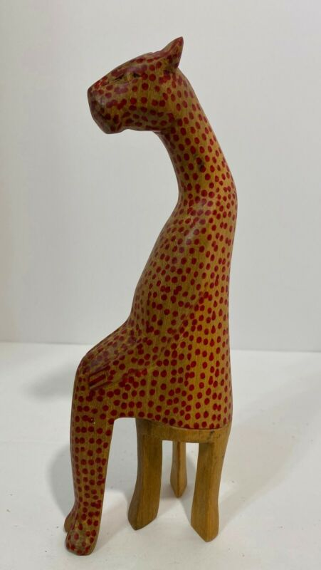 Vintage Hand Crafted Wood Cheetah Sculpture Leopard Jaguar Figurine From Kenya