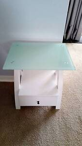 White Side Table with Glass Top & Drawer Armidale Armidale City Preview