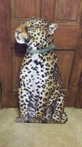 C Katharine Barnwell Designer Wooden Standing Leopard Facing Left