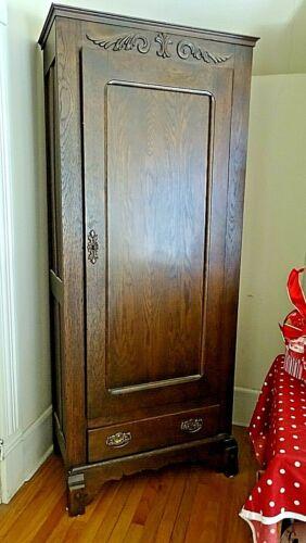 Victorian Antique single door & drawer Cupboard pantry wardrobe cabinet closet 2