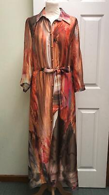 Ella Boo Shirt Dress Maxi Length Red Orange Silky Dress Party Size 16 BNWT £210