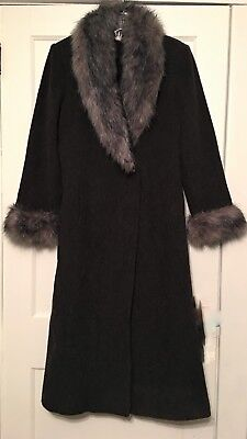 Mario De Pinto MDP Women's Full Length Long Grey Fur Trim 100% Wool Coat Small ()