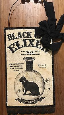 Bethany Lowe Halloween Apothecary Black Cat Elixer Postcard Ornament—Retired