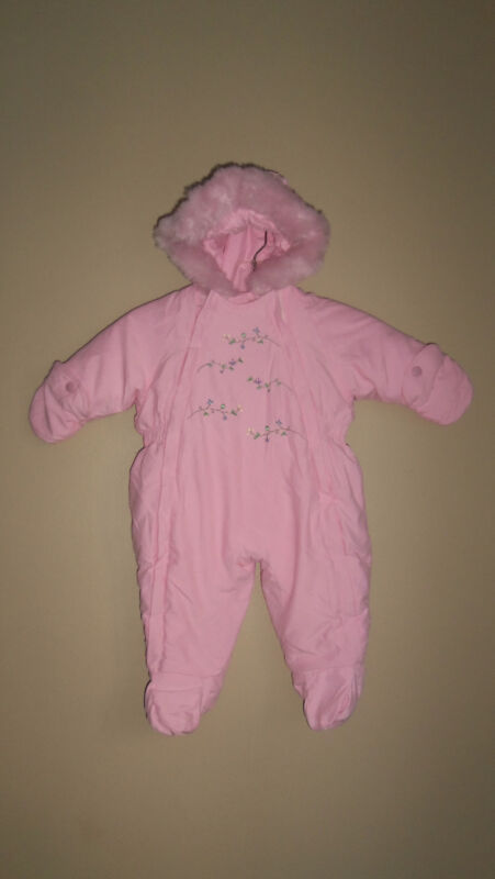 GIRLS CARTERS PINK GREEN FLORAL HOODED 1 PIECE SNOW SNOWSUIT 6 9 MNTH