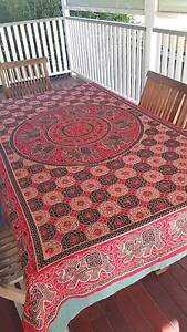 Red Indian cotton tablecloth for 6 seater dining table Albion Brisbane North East Preview