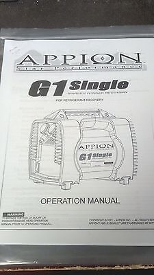 Appion G1 Single Star Performance Refrigerant Recovery Printed Owners Manual