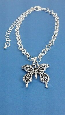 - Beautiful Butterfly Insect Bug Animals Charm Bracelet Rolo Chain with Extender