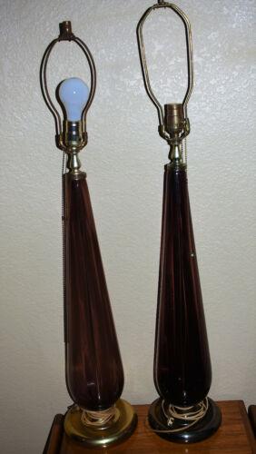 Vintage 1950s Mid Century Modern Amethyst Blenko Glass Table Lamps
