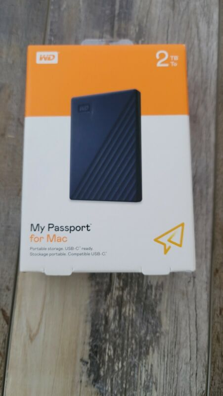 WD 2TB My Passport for *MAC* Portable External Hard Drive Blue USB-C USB-A  NEW