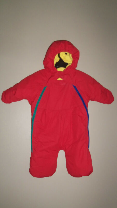 THE COMPANY STORE BOYS RED BLUE DOWN HOODED 1 PIECE SNOW SNOWSUIT BUNTING M
