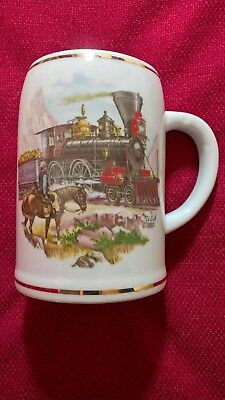 Bierkrug,HW Porzellan,Karlsbader Wertarbeit seit 1901,0,5 l, Motiv:Lok USA1869