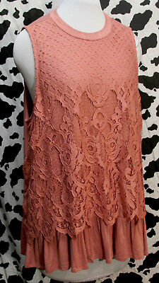 Maurices DUSTY SALMON  FLORAL LACE  FRONT MOCK NECK  Tank Top  PLUS SIZE 2 (2X)