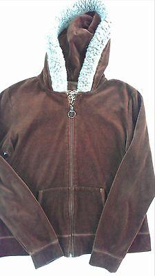 - Active Velour Hoodie Jacket Womens SZ M/L Faux Fur Hood Brown Lightweight Soft