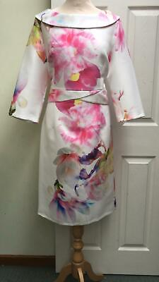Ella Boo Dress White Pink Floral Sleeve Races Size 16 Prom Party Dress BNWT £220
