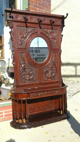 Victorian Antique mahogany Gothic griffin ornate Hall mirror umbrella stand