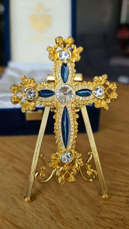 Rare! Faberge Imperial CollectionFiligree Cross Blue  Box & Certificate