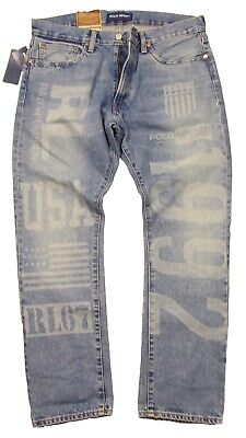 Polo Sport Ralph Lauren Men's Forde Blue Graphic The Varick Slim Straight Jeans