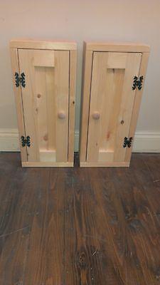 (# Handmade Bespoke Pine small narrow bedside cupboard / bookshelf / CD storage #)