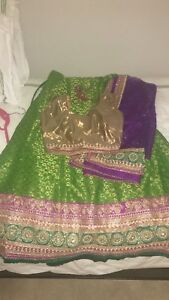 Beautiful green and purple Lengha for sale