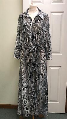 Ella Boo Shirt Dress Maxi Length Grey Snake Silky Dress Party Size 16 BNWT £210