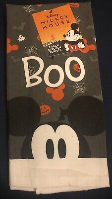NWT Disney Mickey Mouse Boo Halloween Kitchen Dish Towels 2 Pack