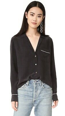 NWT Equipment Keira Silk Shirt Blouse, True Black Size S $218