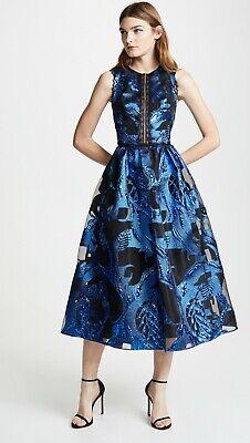 Royal Blue Coupe ($795 New Marchesa Notte Metallic Fil Coupe MIDI Tea Dress Royal Blue 2 4 6 8)