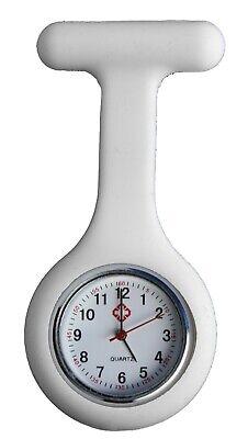 Uhren : Damen-bekleidung Weiß (Krankenschwesteruhr Nurse Watch Silikonhülle Kittel Pflege Quarz Puls Weiß Uhr)