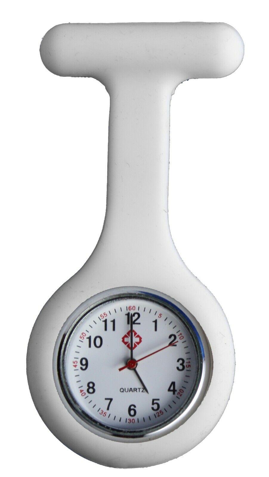 Krankenschwesteruhr Nurse Watch Silikonhülle Kittel Pflege Quarz Puls Weiß Uhr