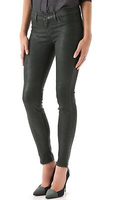 $218 NWT J Brand 901 Sz 24 Coated Textured Super Skinny Jeans Green Leather Look