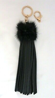 BLACK LEATHER WITH FAUX OSTRICH FEATHERS - KEY RING - NEW - Fake Ostrich Feathers