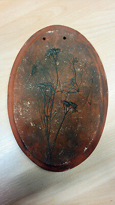 Töpferei Ton Bild Blumen seltenes Einzellstück ca 40 Jahre alt 27 cm x 18,5 cm