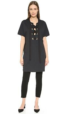 3.1 PHILLIP LIM NWT $275 Lace Up Grommet Bohemian Dress Soft Black Size Small