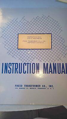 Freed Transformer Co. 1020 -c Cmegohmeter Instruction Book