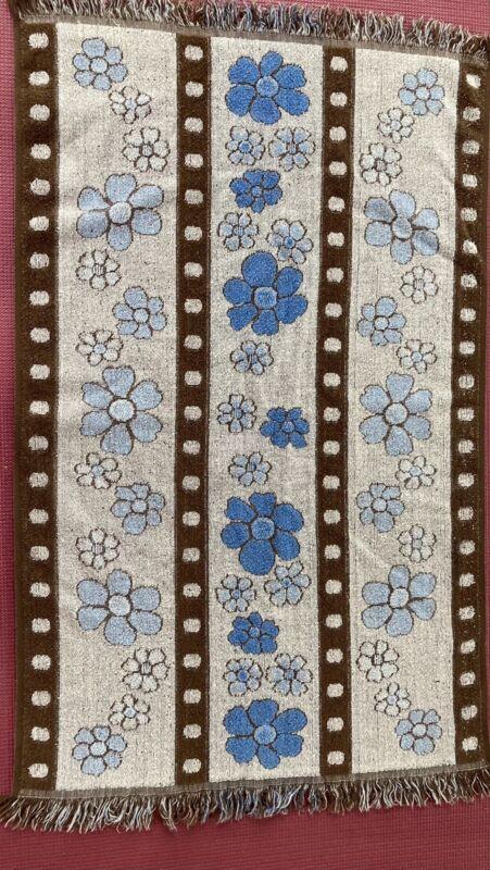 Vintage 70s Cannon Fringed  Hand Towel Bath  Floral 24x36 Cotton