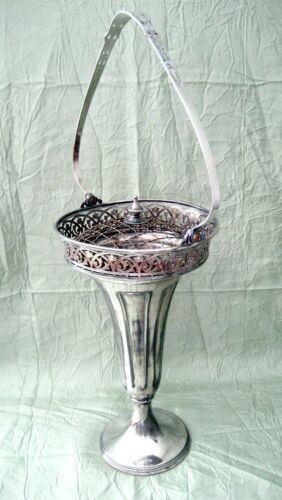 ELEGANT OLD ART DECO SHABBY CHIC PAIRPOINT TALL SILVER PLATE VASE W/FLOWER FROG