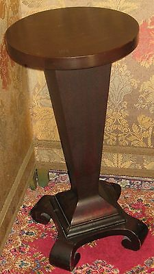 ANTIQUE SOLID MAHOGANY PEDESTAL PLANT STAND ROUND TOP TAPERED COLUMN SCROLL -