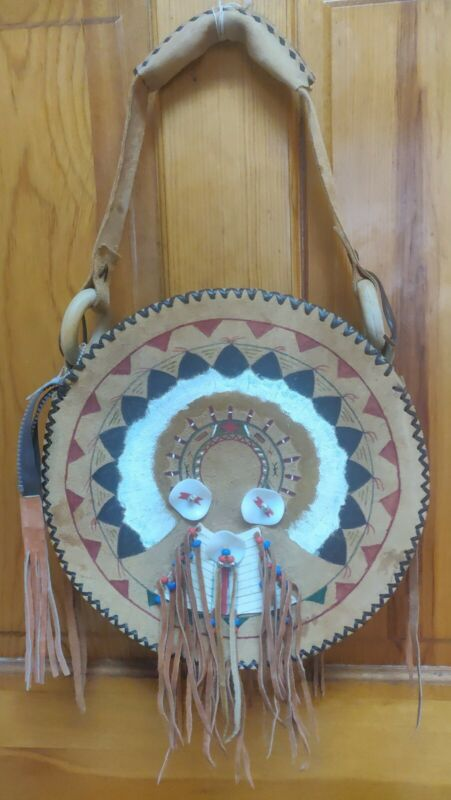 Native American handmade hand painted leather drum bag with tassels and beading