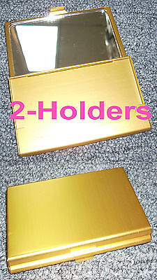 Tz Case Business Card Holder With Mirror All Metal Pocket Size 2-gold Anc002g