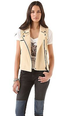 "$649 Chaser M 33"" Leather Vest Natural Motorcycle Biker Riding Women Jacket Gift"