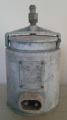 vintage industrial shelf display tins, vintage, industrial