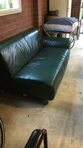 Sofa two seater green leather
