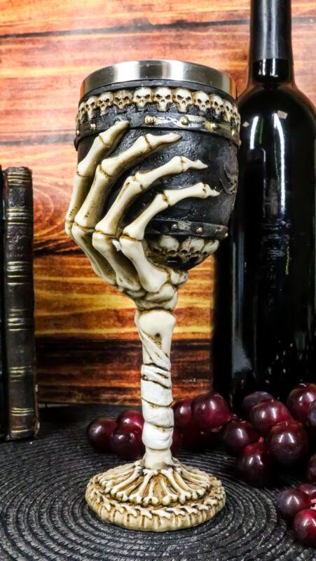 Ebros Skeleton Hand Bones Wine Chalice Goblet 6oz Cup Mummy Grip Of Death