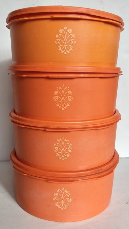 4 Vintage Tupperware Orange Servalier Canisters 1204 With Lids 1205 - 8 Pieces