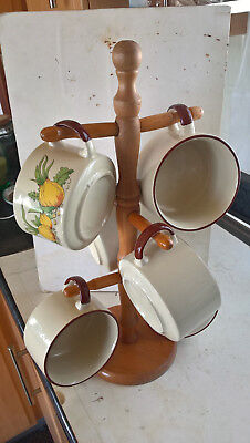 6x vintage soup bowls with wooden stand