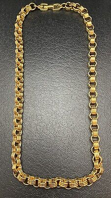 Vintage Givenchy Rolo Chain Necklace Logo G Clasp Gold Plated Designer Signed