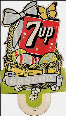 7 up Easter Basket With Eggs Butterfly On Cardboard Sign U.S.A. Vintage