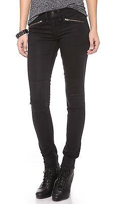 NWT RAG & BONE Ridley Moto Jean Wax Black Denim Women's 28 Skinny Pant MSRP $242
